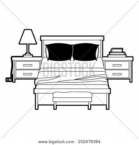 bedroom with nightstand black color section silhouette on white background vector illustration
