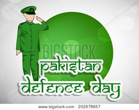 illustration of soldier saluting and web button with Pakistan defence Day text on the occasion of Pakistan defence day
