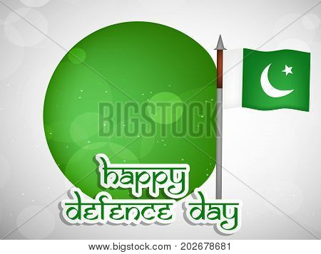 illustration of Pakistan flag and web button with Happy defence Day text on the occasion of Pakistan defence day