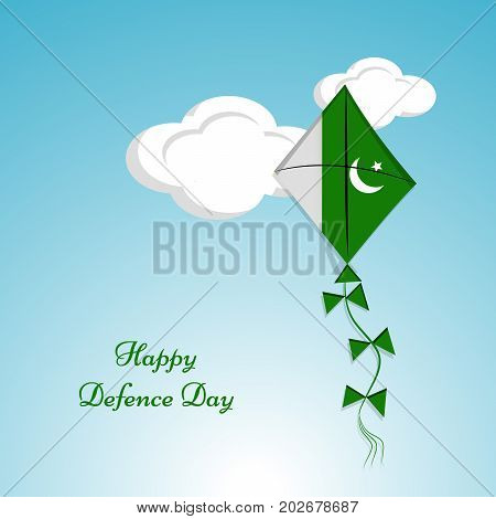 illustration of kite in Pakistan background with Happy defence Day text on the occasion of Pakistan defence day