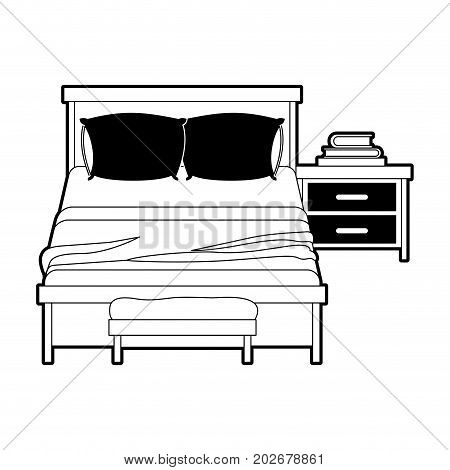 bedroom with books over nightstand black color section silhouette on white background vector illustration