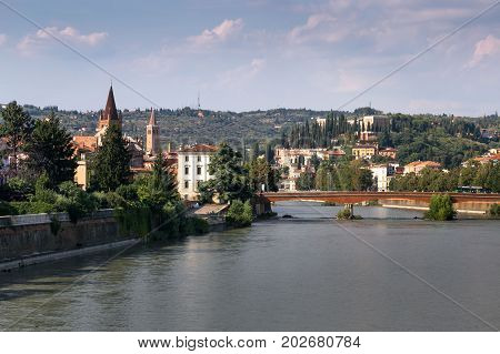 Verona Italy - August 17 2017: Beautiful panoramic view of the bridges of Verona