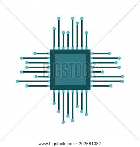 microchip icon colorful silhouette on white background vector illustration