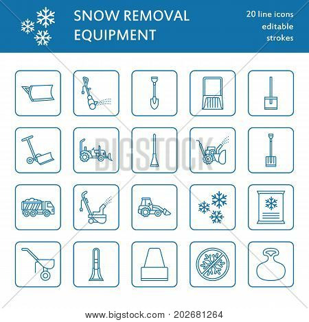 Snow removal flat line icons. Ice relocation service signs. Cold weather equipment - snow thrower, blower, truck, front loader, snow shovel. Vector illustration, industrial cleaning symbols.