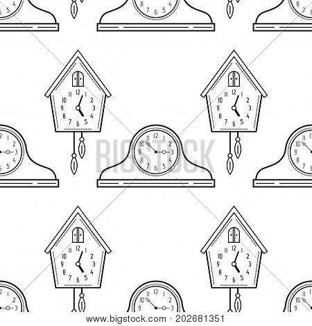 Mantel clocks and cuckoo clock. Black and white seamless pattern for coloring books, pages. Vector illustration.