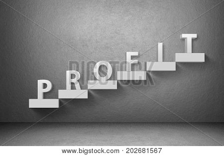 Word profit on staircase on grey background, business concept