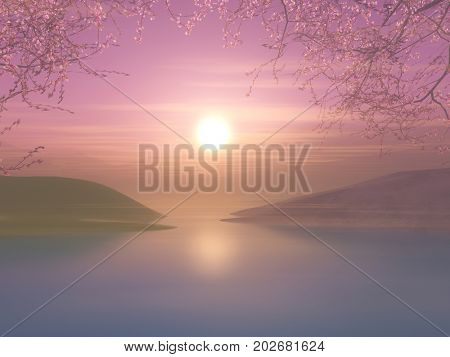 3D render of a sunset landscape with cherry tree against a sunset sky