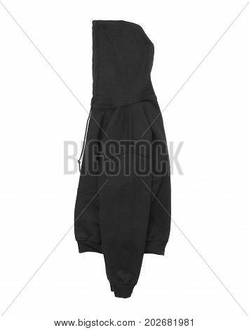 blank hoodie sweatshirt color black side arm view on white background