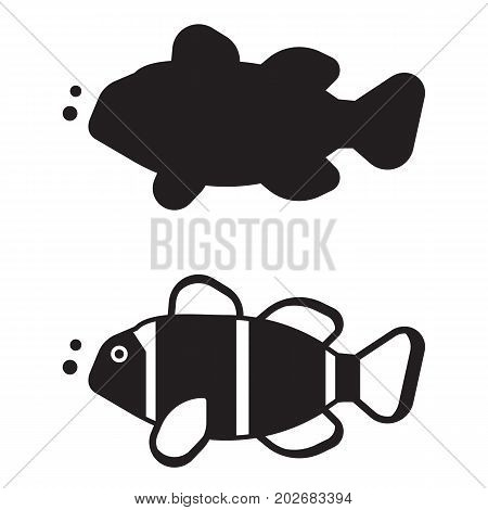 Tropical coral fish vector icon in outline design. Striped clown-fish aquarium logo or label template.