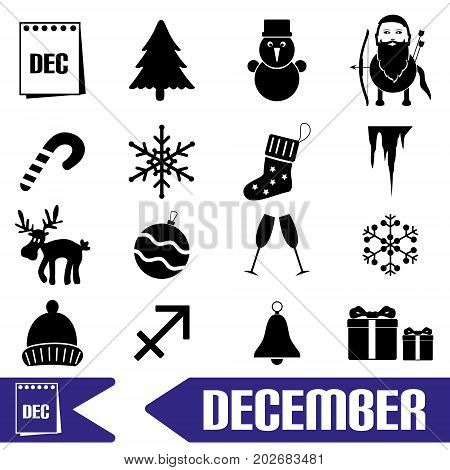 December Month Theme Set Of Simple Icons Eps10