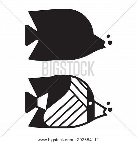 Tropical marine fish vector icon in outline design. Striped colorful butterflyfish aquarium logo or label template. Coral fish silhouette illustration.