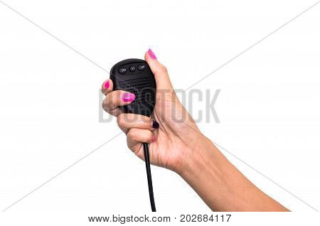 Walkie-talkie cb radio transmitter in female hand isolated on white.