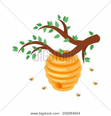 Vector cartoon style bee hive with flying bees around. Isolated on white background.