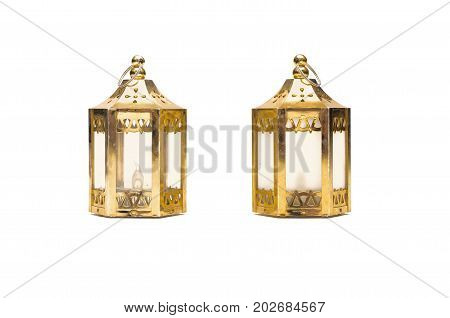 Lantern lamps isolated on white background. Christmas decoration objects.