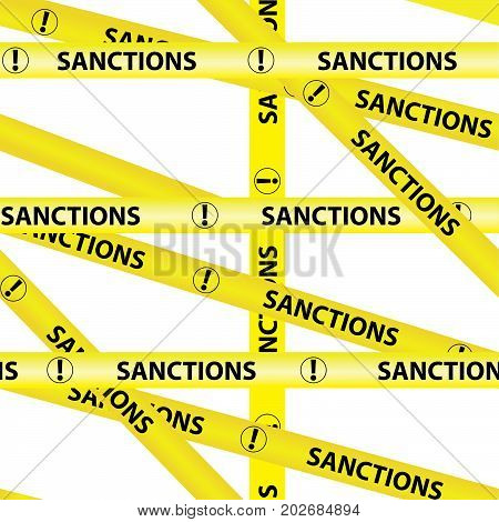 Yellow warning tapes inscription SANCTIONS Isolated background seamless yellow warning caution ribbon tape vector on white background