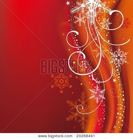 christmas background with snowflakes and decoration