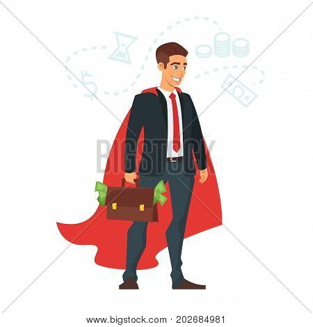 Vector cartoon style illustration of happy businessman in red cloak with a case of money. Isolated on white background.