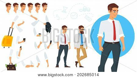 Vector cartoon style constructor of businessman character. Different emotions and hands positions. Isolated on white background.