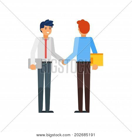 Vector flat style illustration of happy businessman characters. Business partners shaking hands. Isolated on white background.