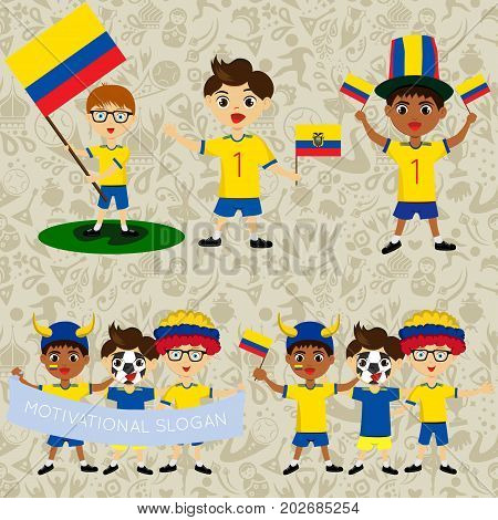 Set of boys with national flags of Ecuador. Blanks for the day of the flag independence nation day and other public holidays. The guys in sports form with the attributes of the football team