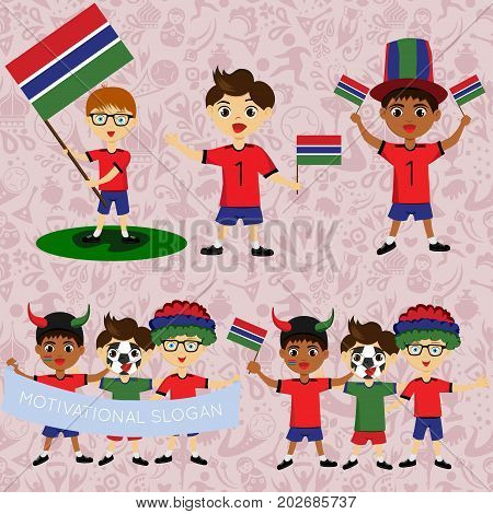 Set of boys with national flags of Gambia. Blanks for the day of the flag independence nation day and other public holidays. The guys in sports form with the attributes of the football team