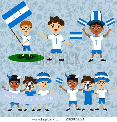 Set of boys with national flags of Honduras. Blanks for the day of the flag independence nation day and other public holidays. The guys in sports form with the attributes of the football team