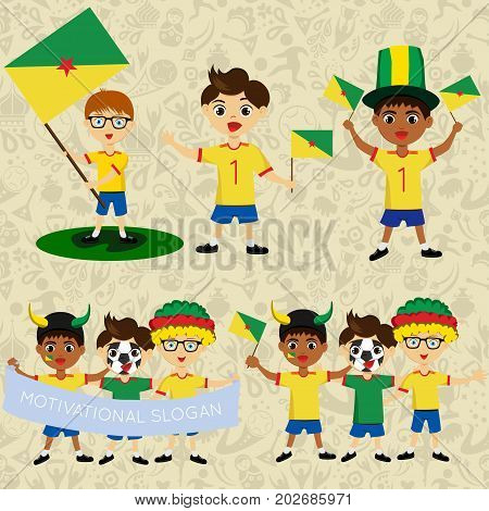 Set of boys with national flags of Guiana. Blanks for the day of the flag independence nation day and other public holidays. The guys in sports form with the attributes of the football team