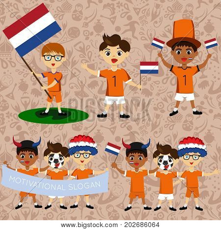 Set of boys with national flags of Netherlands. Blanks for the day of the flag independence nation day and other public holidays. The guys in sports form with the attributes of the football team