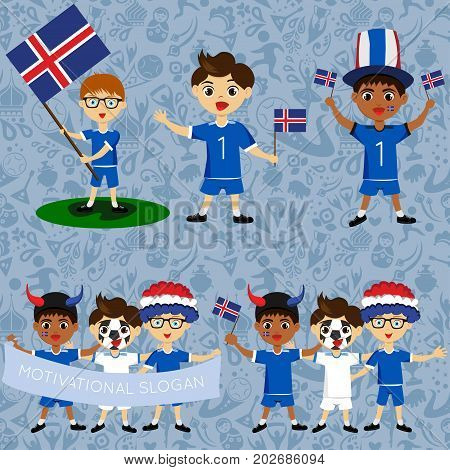 Set of boys with national flags of Iceland. Blanks for the day of the flag independence nation day and other public holidays. The guys in sports form with the attributes of the football team