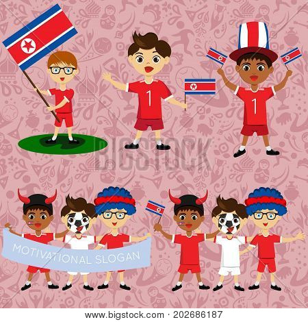 Set of boys with national flags of North Korea. Blanks for the day of the flag independence nation day and other public holidays. The guys in sports form with the attributes of the football team
