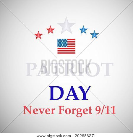 illustration of stars with Patriot Day never forget 9/11 text on the occasion of Patriot Day