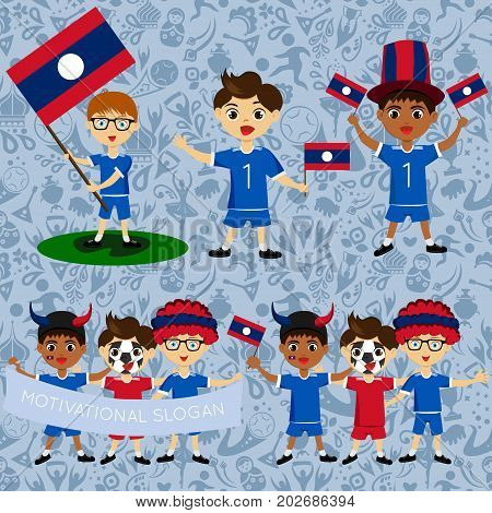 Set of boys with national flags of Laos. Blanks for the day of the flag independence nation day and other public holidays. The guys in sports form with the attributes of the football team