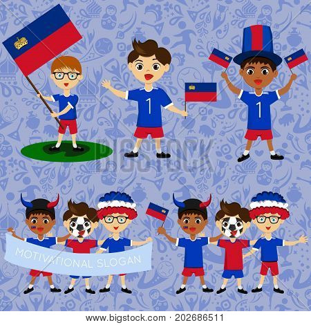 Set of boys with national flags of Liechtenstein. Blanks for the day of the flag independence nation day and other public holidays. The guys in sports form with the attributes of the football team