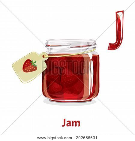 Vector alphabet letter J for children education with jar of strawberry jam. Isolated. Learn to read. Coloring page.