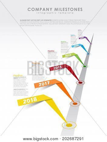 Infographic startup milestones timeline vector template. Vector art