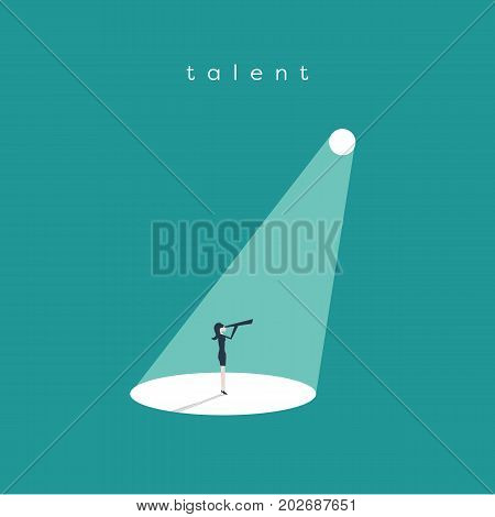 Business recruitment or hiring vector concept. Looking for talented leader, visionary. Businesswoman standing in spotlight, searchlight looking for new career opportunities. Eps10 vector illustration.
