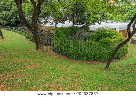 Top View Of Underground Crossingl At Fort Canning Park, Singapore