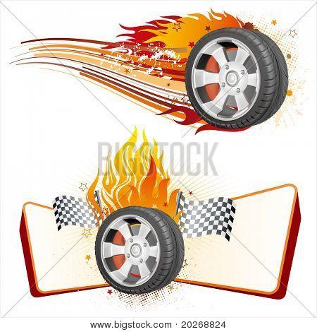 fiery racing tire,automobile race element