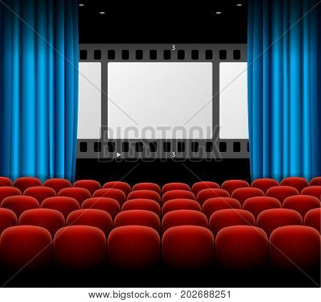 Cinema Movie Retro Concept with Seats Rows, Film Stripe and Curtains for Presentations and Advertising. Vector illustration of Interior Cinema