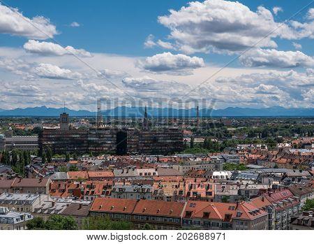 The City Munich Of Bird's-eye,  Germany  Bavaria
