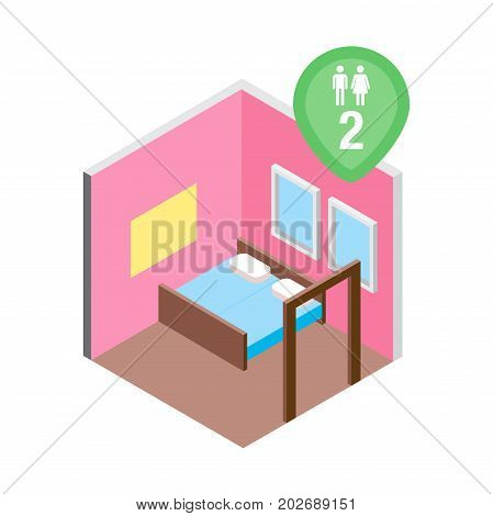 Vector design concept with isometric 3d hostel or hotel bed room illustration for couple