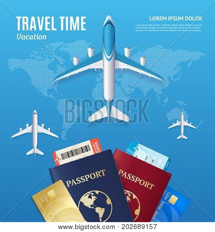 Travel Time Concept with Passport and Boarding Pass on a Blue Map Adventure Tourism Business Element. Vector illustration