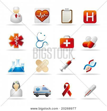 medical and health icon set