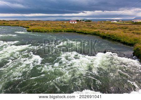 Summer Iceland Landscape With Raging River