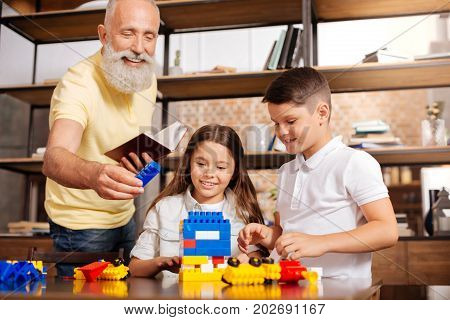 Here you go. Pleasant elderly man holding a book in one hand and handing a blue piece of construction set to his grandchildren building a tower