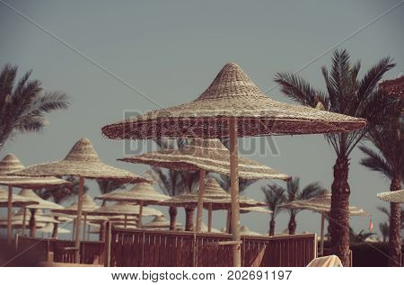 Summer vacation and traveling. Umbrella and beach. Sunny blue sky at resort. Beach straw umbrella with palm tree. Relax and holiday.
