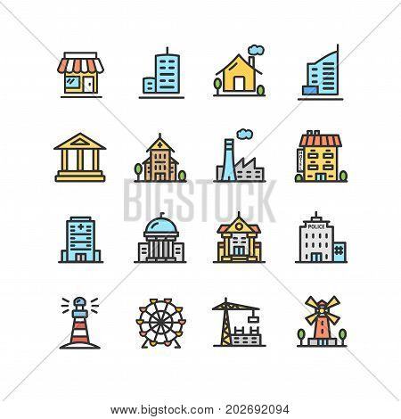 Building House or Home Color Thin Line Icon Set Include of Government, School, Shop and Church Pictogram. Vector illustration of houses or different buildings