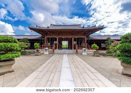 Lanscape of Chi Lin Nunnery Temple and Nan Lian Garden at Hong Kong.