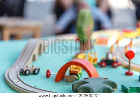 wood toy train set close up view on table