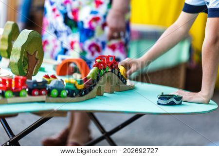 wood toy train set on outdoor park